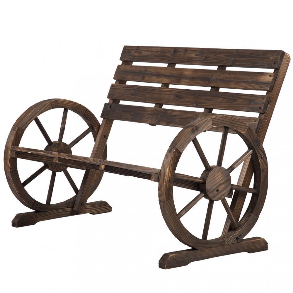 Wooden Wagon Wheel Bench Garden Loveseat Rustic Outdoor Park Furniture BestMassage