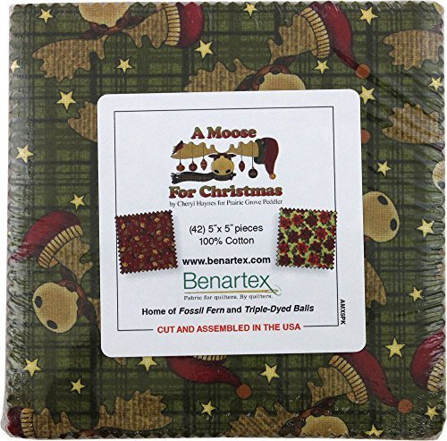 Cheryl Haynes A Moose For Christmas 5X5 Pack 42 5-inch Squares Charm Pack Benartex by Benartex