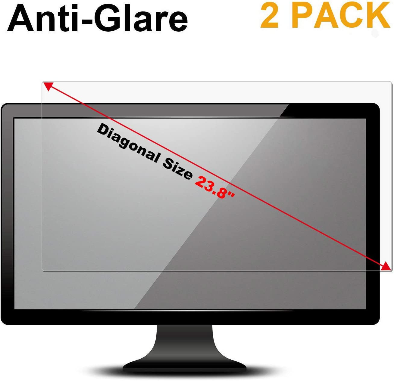 "FORITO 2-Pack 23.8"" Anti Glare(Matte) Screen Protector Compatible with 23.8"" Dell/ASUS/Acer/ViewSonic/Samsung/Aoc/HP Widescreen Desktop Monitor with 16:9 Aspect Ratio Screen (Size: 20.7"" x 11.7"" WxH)"