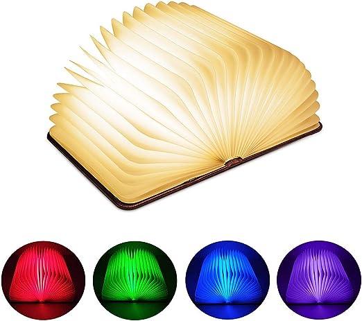 Lavcus Livre Lampe Pliante, LED Lampe de Livre en Bois avec 4 Couleurs, Lumière Magnétique Rechargeable par USB, Lampe de Chevet Bureau Table