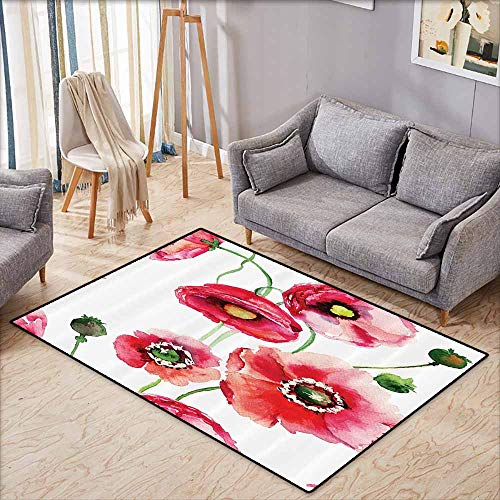 Inner Door Rug Watercolor Flower Decor Collection Stylized Poppy Flowers Buds Watercolor Painting Effect Dark Pink White Non-Slip Door mat pad Machine can be Washed W5'2 xL4'6