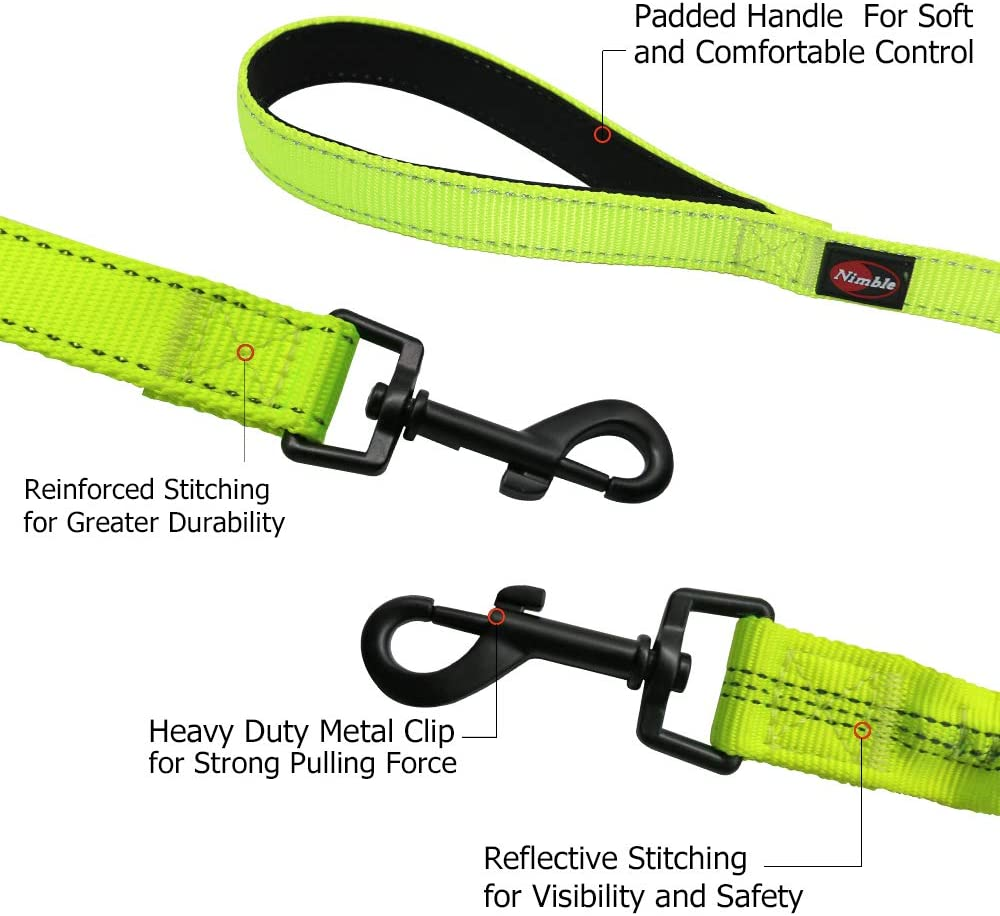 NIMBLE 6FT Double Dog Leash,360/°Tangle Free with Shock Absorbing Bungee Reflective Walking Traning Leashes for Medium//Large 2 Dogs