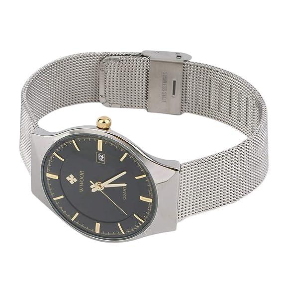 WWOOR Nuevas llegadas Relojes de cuarzo simple Super Thin Reloj de cuarzo resistente al agua Casual
