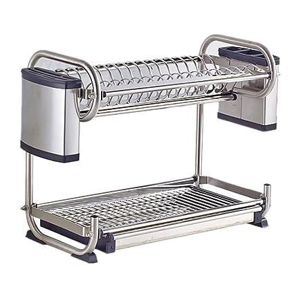 Wagsiyi Lavavajillas Large Dish Drainer Dry Rack 2-Tier Tazas Y Cuberterías Extraíble Bandeja Bandeja