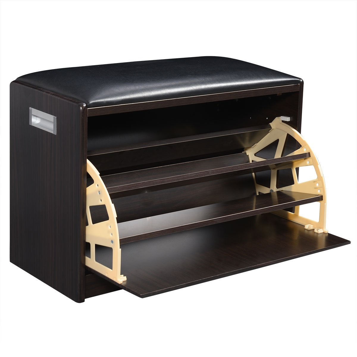 Gentil Amazon.com: Giantex Wood Shoe Storage Cabinet Bench Ottoman Closet Shelf  Entryway Pu Leather Seat: Home U0026 Kitchen