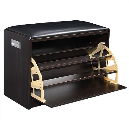Amazoncom Giantex Wood Shoe Storage Cabinet Bench Ottoman Closet