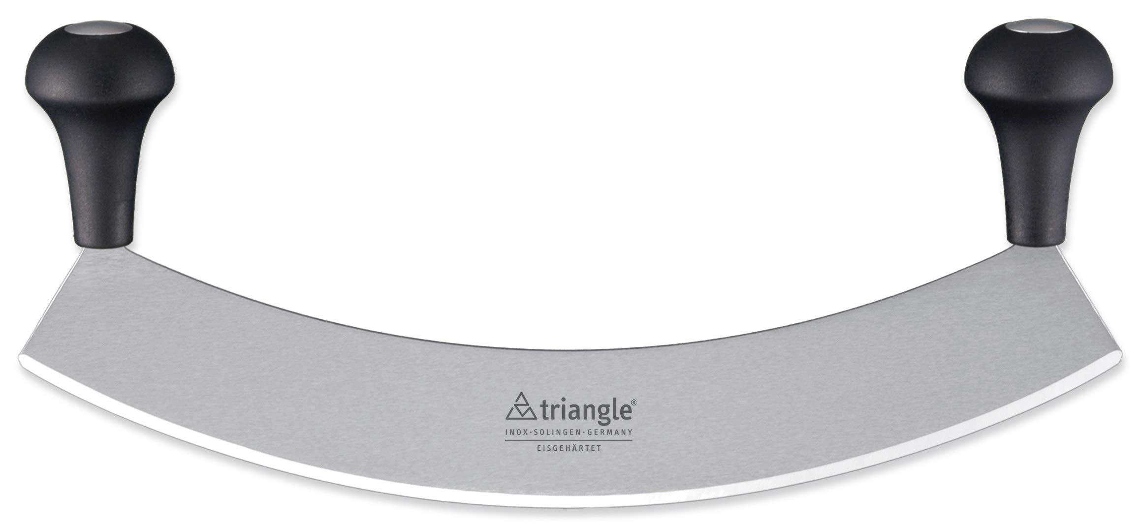Triangle Germany 14 inch Mezzaluna Knife, Rust-Free Stainless Steel Curved Blade with Ergonomic Handle, Pizza Cutter, Vegetable, Salad and Fruit Chopper, Professional-grade, Dishwasher Safe by TRIANGLE