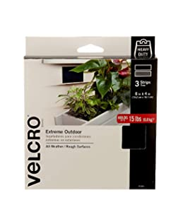 VELCRO Brand 91885 Industrial Fasteners Extreme Outdoor Weather Conditions | Professional Grade Heavy Duty Strength Holds up to 15 lbs on Rough Surfaces, 6in x 4in (3pk), Strips 3 Sets