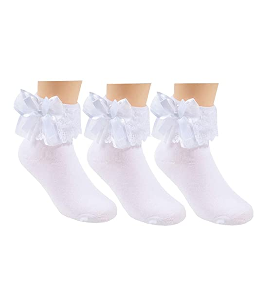 search for best big discount of 2019 premium selection 3 Pack Little Girls Cotton Lace Ruffle Princess Style Dress Socks(2T-12T)