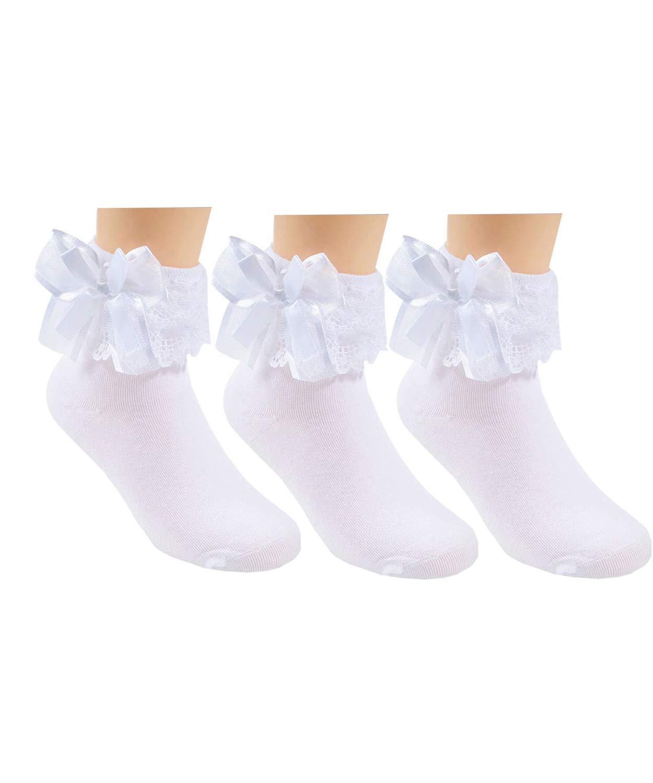 3 Pack Little Girls Cotton Lace Ruffle Princess Style Dress Socks, White, 4T-6T(15cm-17cm)