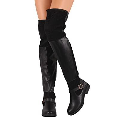 43f54ffb3d65 Amazon.com | BAMBOO Womens Almond Toe Over The Knee Low Flat Heel  Stretchable Ribbed Knit Buckle Riding Boots | Over-the-Knee