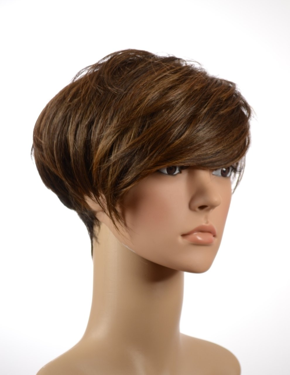 Amazon Short Brown Talisha Pixie Cut Wig Long Sideswept
