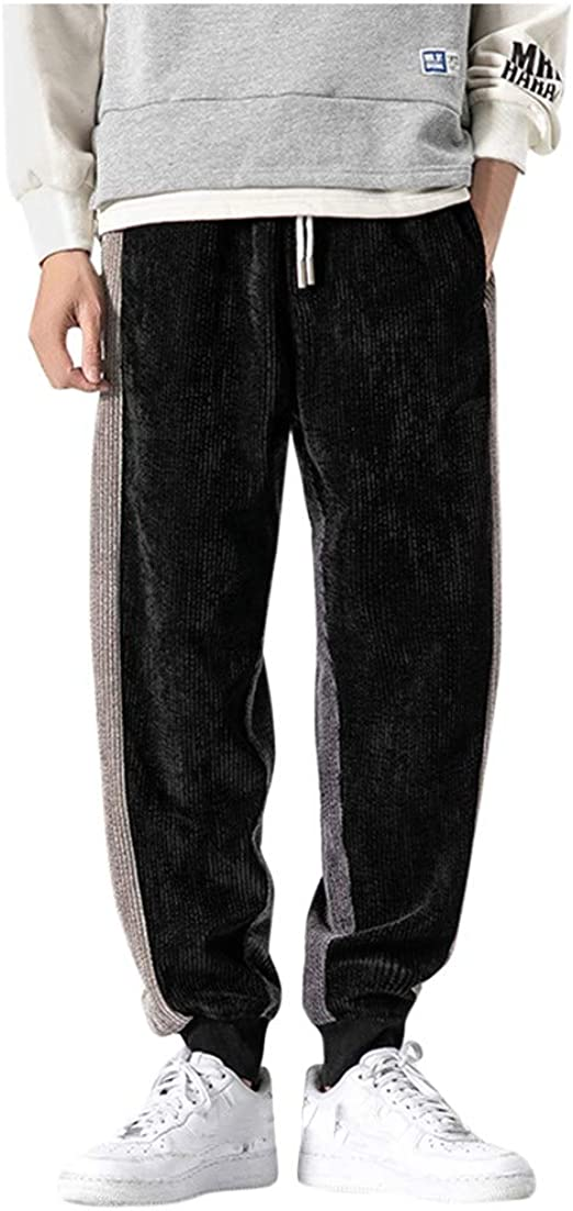 Mens Pants Patchwork Print Comfy Overalls Soft Joggers Sweatpants Casual Baggy Outdoors Trousers