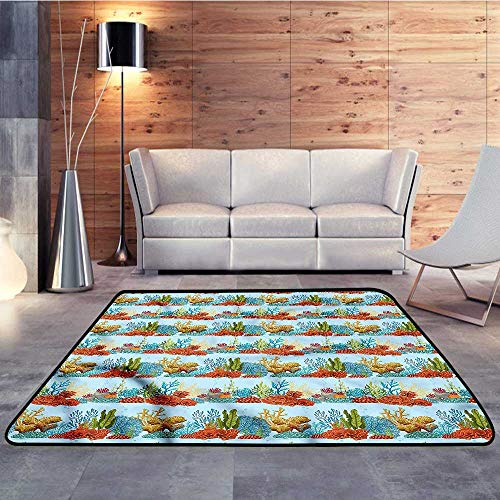 "Bedroom Rugs,Aquarium,Coral Reefs and AlgaesW 63"" x L94 Kitchen Doormat"