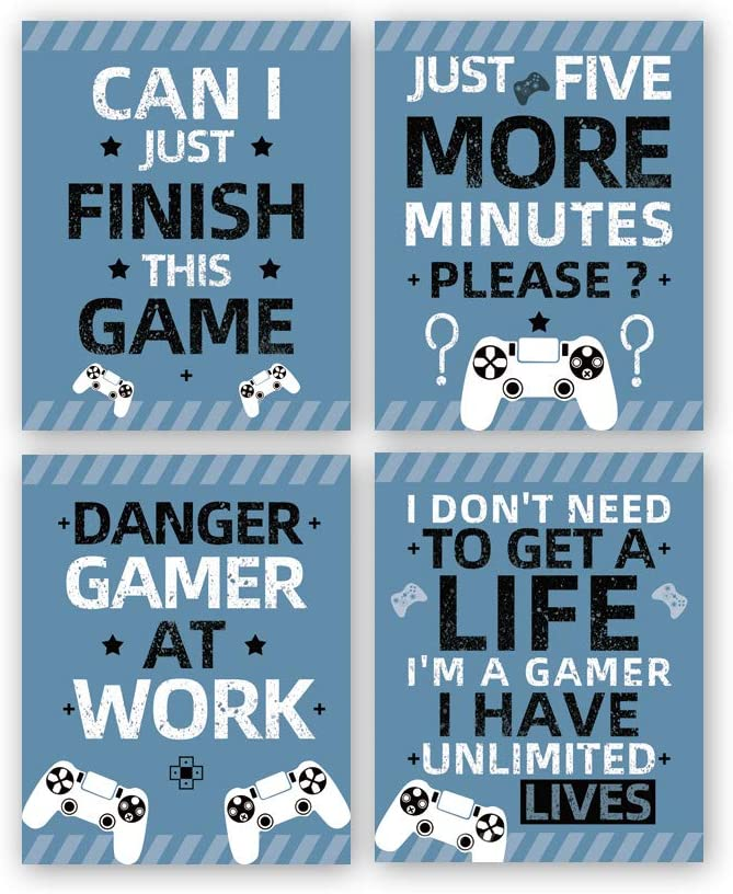 "Gaming Art Print, Funny Video Game Canvas Paintings Poster,Set Of 4(8""X10"",Unframed),Inspirational Saying Quote Gaming Theme Wall Art For Boy Bedroom Playroom Decor"