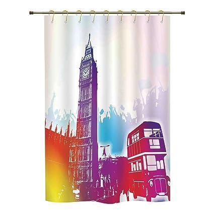 IPrint Shower CurtainLondonHistorical Big Ben And Bus Great Bell Clock Tower UK