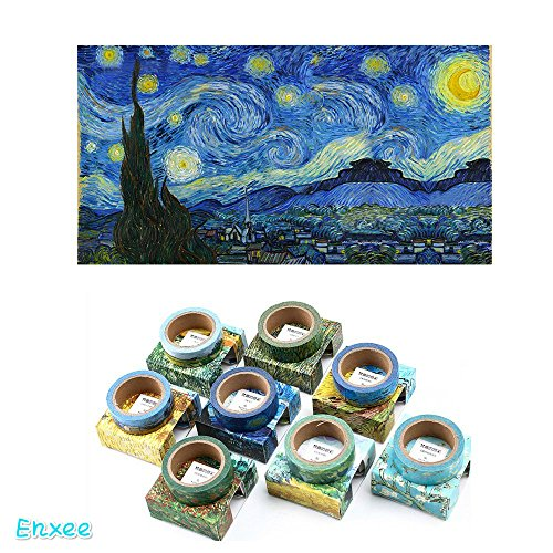 8 Rolls DIY Washi Masking Adhesive Sticky Paper Tape(15mm Width), Van Gogh's Paintings Series Collection for Decorative Journals, Daily Office (Halloween Van Gogh)