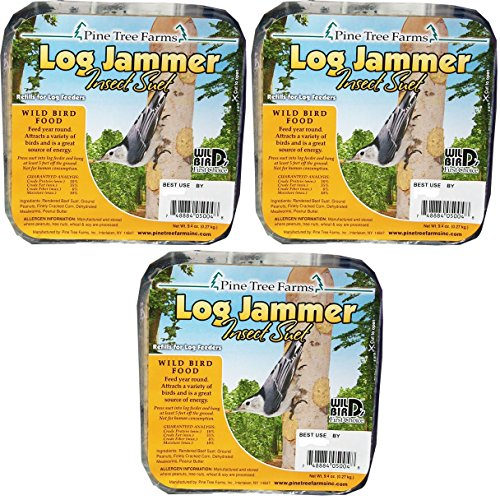 (Pine Tree Farm Log Jammers Insect Suet Plug (Pack of 3))