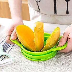 Poupao 4 in 1 Apple Peeler, Pear Mango Tomato Guava Orange Pitaya Kiwi Fruit Vegetables Slicer Corer Cutter with Easy to Use Handle, Free Plate, Dishwasher Safe Practical Fruit Tools