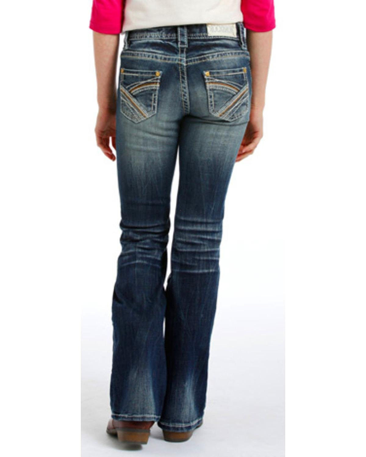 Rock & Roll Cowgirl Girls' and Faded Jeans Boot Cut Indigo 7