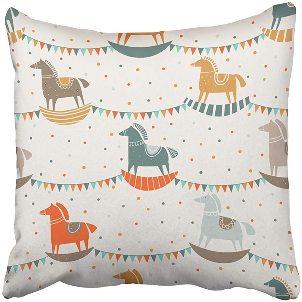Staroutah Throw Pillow Cover 18''X18'' Decorative Polyester Funny Wood Horse in Pastel Colors Ideal Industry Kindergarten Preschool Pillowcase Print Two Sides Deco Home