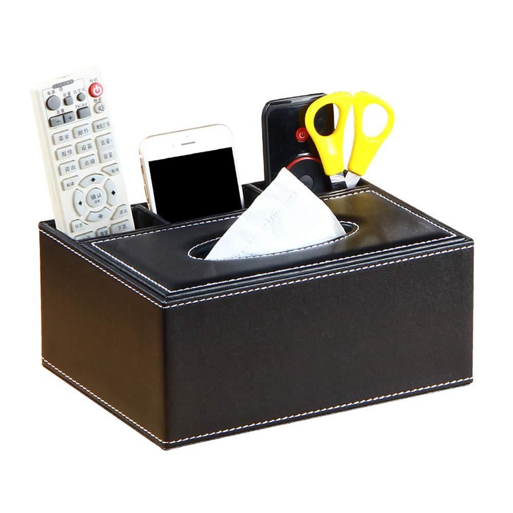 Faux Cuir Multifonctionnel Bureau Stylo de Table//Crayon//T/él/éphone Conteneur de Stockage pour Le Bureau /à Domicile Manswill Teapoy Organisateur de la t/él/écommande /& Bo/îte /à mouchoirs