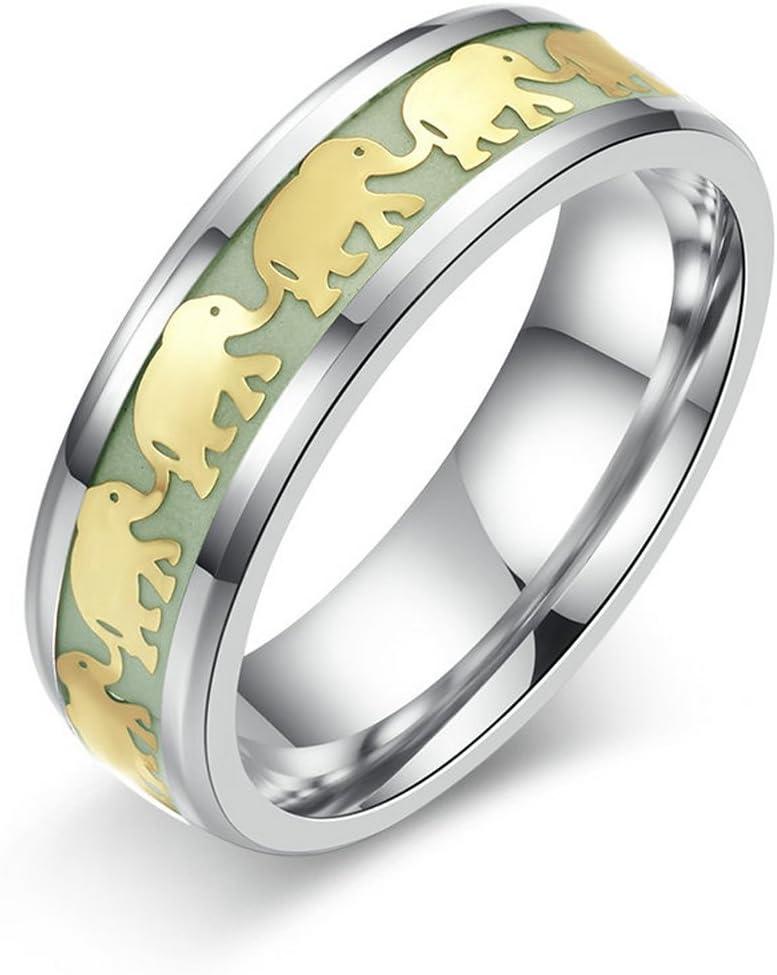 خاتم عصري مضيء على شكل فيل متوهج في الظلام من التيتانيوم المقاوم للصدأ خاتم فلوريسينت هدية الزفاف للرجال والنساء مجوهرات