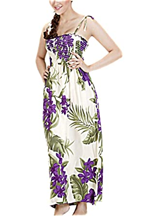 d261443745e HAWAIIAN CREAM & PURPLE FLORAL LONG SUN DRESS-ONE SIZE (S-XL) f19 at ...
