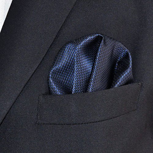 Shlax&Wing Solid Blue Mens Pocket Square Business Silk Hanky Handkerchief (Pocket Handkerchief Suit)