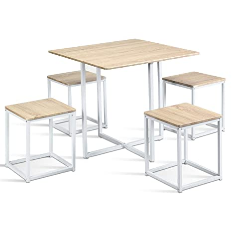 Amazon.com - 5Pieces Bar Pub Kitchen Dining Table Stools ...
