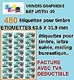 480 étiquette pour timbre 20 planches de 24 étiquettes soit 480 étiquettes pour timbre 63,5 x 33,9 mm L7159 compatible montimbre en ligne DE MARQUE UNIVERS GRAPHIQUE ugt01 - facture avec tva deductible