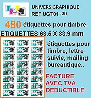 Lot De 10 Planches A4 De 24 Etiquettes Timbres Format 63 5 X 33 9 Mm