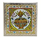 Subh Labh Meenakari Puja Bajot /Table/Chowki (Indian Religious Pooja Chaurang) 15'' X 15'' X 5''