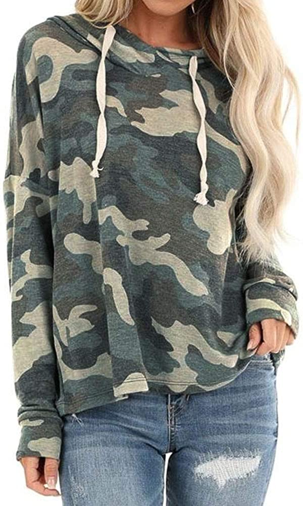 UK Women Camo Pullover Jumper Ladies Winter Casual Camoflage Tops Blouse Shirt