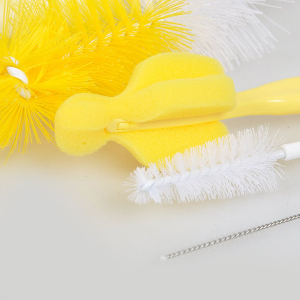 5pcs Rotary Sponge Nylon Bristle Baby Bottle Brush Nipple Cleaning Brush Set