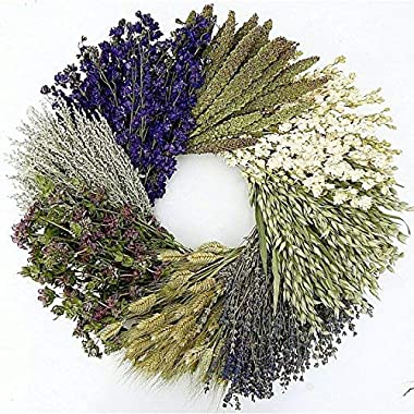 The Wheel. Dried herb, Floral and Grain Fall Wreath- Great Gardening Lover Gift! 19 Inch, Hand Made in The USA. Round Wreath, Wreath for The Front Door Home Décor.