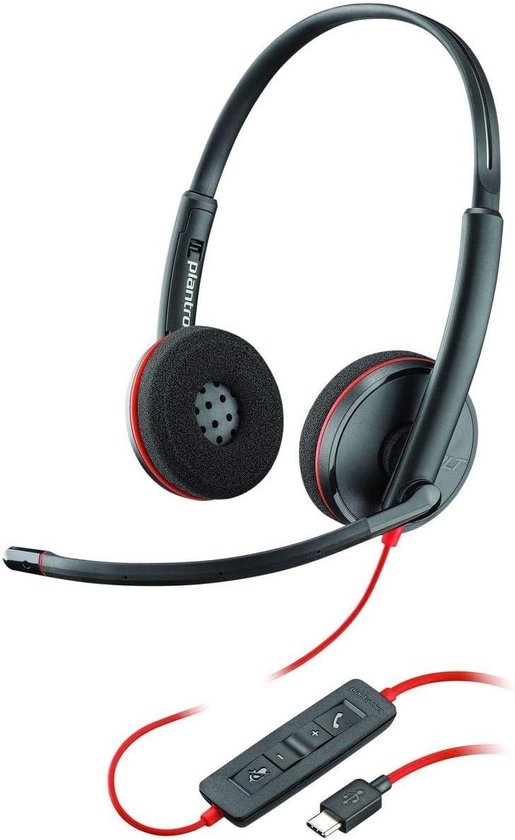 Plantronics Blackwire C3220 - Auriculares estéreo con Conector USB-C, cancelación de Ruido, Soporte de Sonido y Brazo Flexible para micrófono, Color Negro