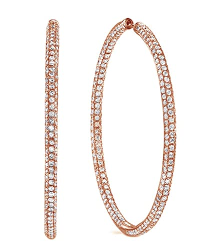 Amazoncom Micropave White CZ Three Row Large Hoop Earrings in 18K