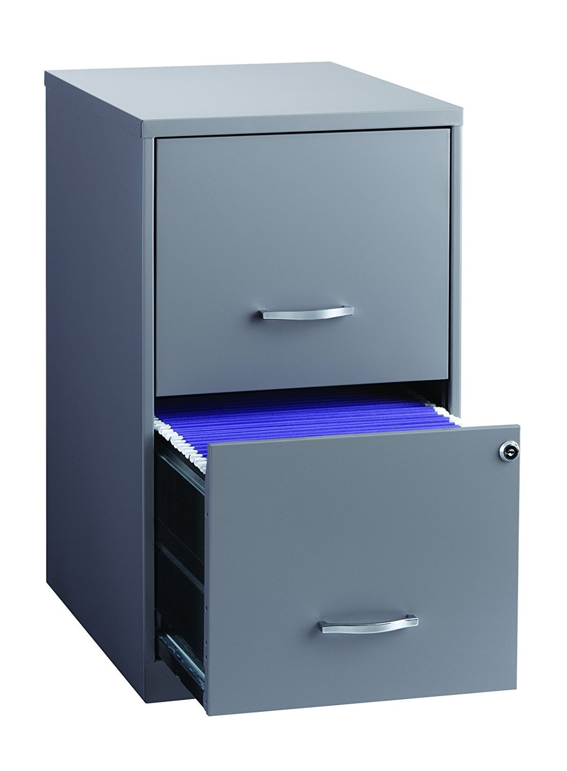 Office Dimensions 18'' Deep 2 Drawer Metal File Cabinet, Gray (2-Units)