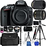 Nikon D5300 Digital SLR Camera Kit - International Version (No Warranty) with 18-55mm & 55-200mm VR Lenses. Includes: Wide Angle & Telephoto Lenses, 3 Piece Filter Kit (UV-CPL-FLD), 16GB Memory Card, Extended Life Replacement Battery,Tripod, Monopod, Carrying Case & More