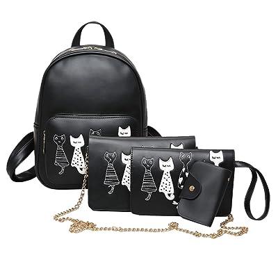 AFfeco 4pcs Cat Printed Girls PU Leather Backpack Shoulder Bag Clutch Purse Bag Set