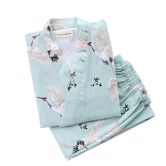Vestido de Estilo japonés de Las Mujeres Kimono Pijama Traje de la grúa B: Amazon.es: Ropa y accesorios
