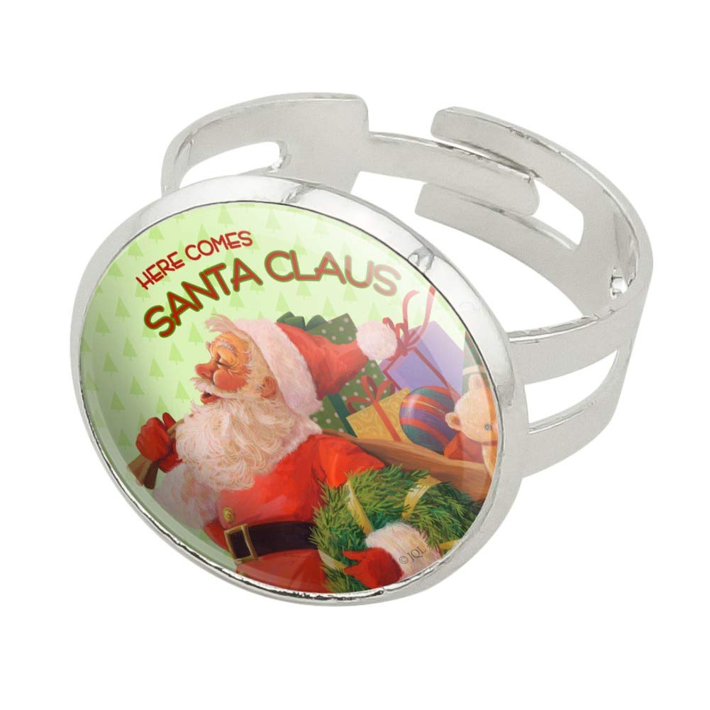 GRAPHICS /& MORE Christmas Holiday Santa Delivering Toys Silver Plated Bracelet with Antiqued Charm