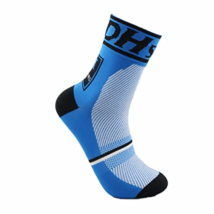 Starter Profesional Calcetines Ciclismo Transpirable Que Absorbe Running Deporte Bicicletas Calcetines Hombre Mujer (Azul)