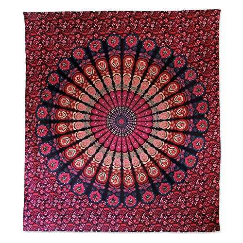 (NOVICA Pink and Purple Cotton Floral Wall Tapestry 'Leafy Mandala In Magenta')