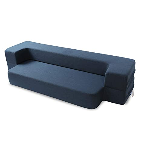 Fabulous Maxdivani 8 Inch Portable Travel Sofa Bed Washable Cover Tri Folding Memory Foam Mattress Queen Dark Blue Pdpeps Interior Chair Design Pdpepsorg