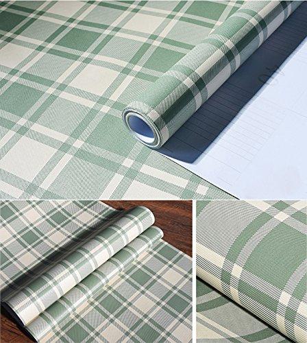 - Plaid Pattern Vinyl Contact Paper Self Adhesive Shelf Drawer Liner for Kitchen Cabinets Backsplash Countetop (Green, 24