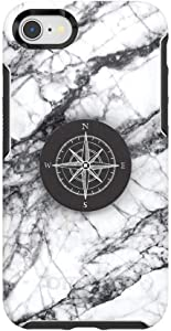 Otter + Pop for iPhone SE, 7 and 8: OtterBox Symmetry Series Case with PopSockets Swappable PopTop - White Marble and Compass