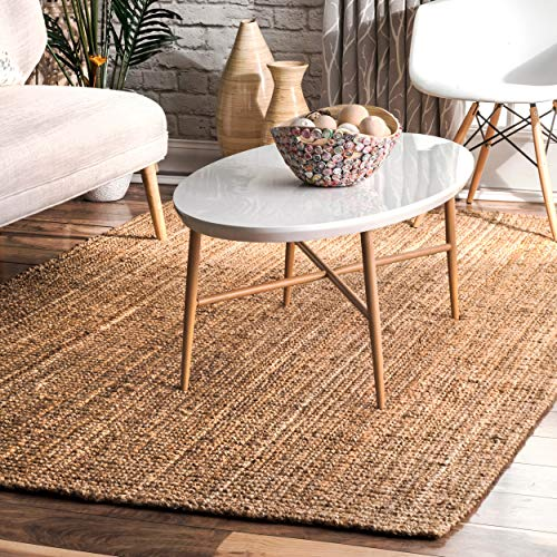 nuLOOM Handwoven Solid Ashli Solid Jute Area Rug, 5' x 8', Natural (Wool Sisal Rugs)