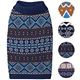 Blueberry Pet 4 Patterns Fair Isle Style Yale Blue Snowflakes Pullover Dog Sweater, Back Length 20'', Pack of 1 Clothes for Dogs